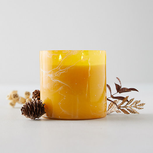 View larger image of Linnea's Lights Marble Candle, Bourbon Tabac