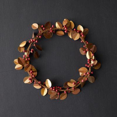 Beaded Brass Mistletoe Wreath