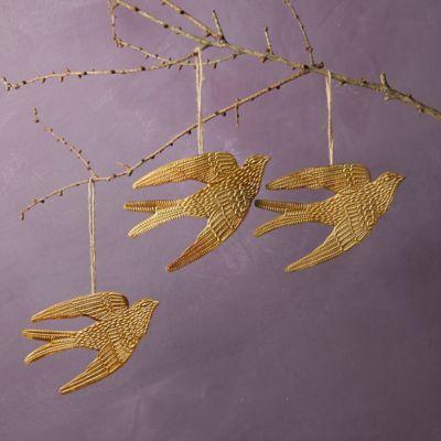Golden Bird Ornaments, Set of 3