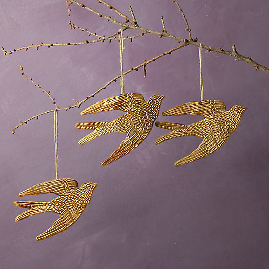 View larger image of Golden Bird Ornaments, Set of 3