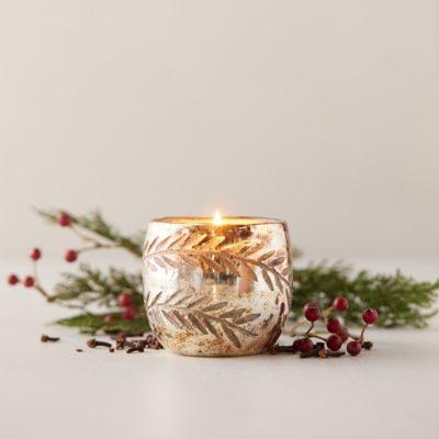 Linnea's Lights Etched Mercury Glass Votive, Crimson Clove