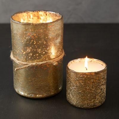 Gold Mercury Glass Candle, Ginger Patchouli