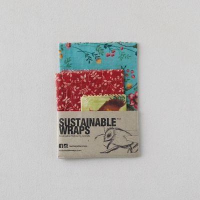 Reusable Beeswax Food Storage Wraps, Set of 3