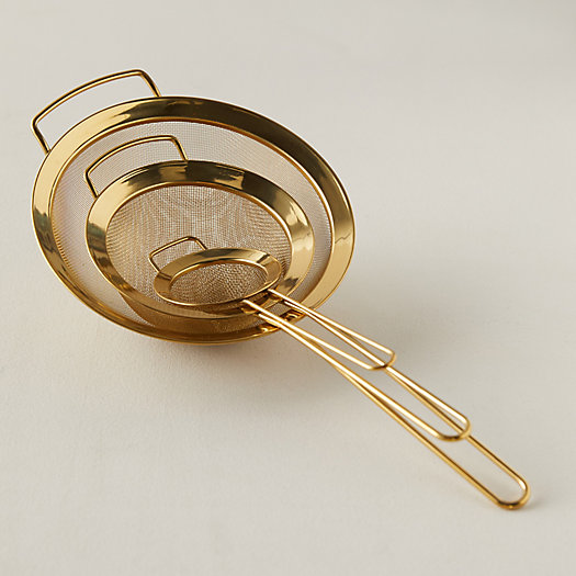 View larger image of Gold Stainless Steel Strainers, Set of 3