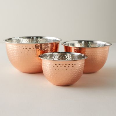 Copper Stainless Steel Mixing Bowls, Set of 3