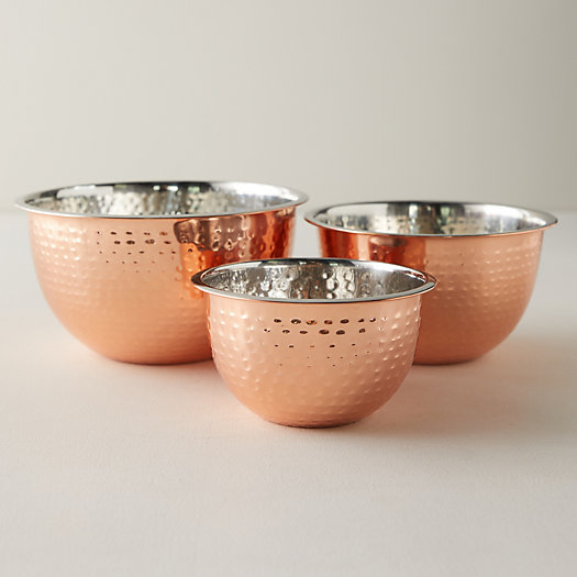 View larger image of Copper Stainless Steel Mixing Bowls, Set of 3