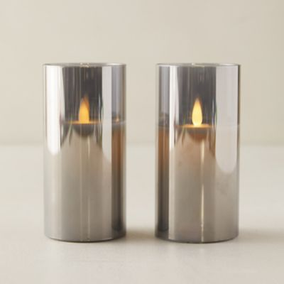 LED Pillar Candle in Smoked Glass, Set of 2
