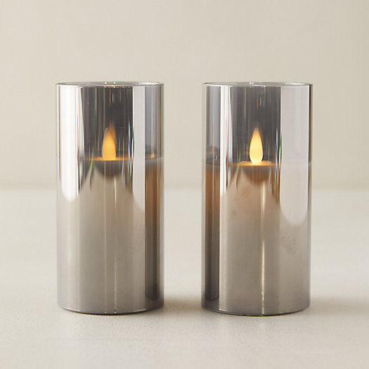 View larger image of LED Pillar Candle in Smoked Glass, Set of 2