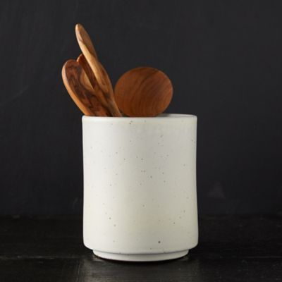Speckled Cream Ceramic Utensil Holder