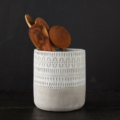 Geo Etched Ceramic Utensil Holder