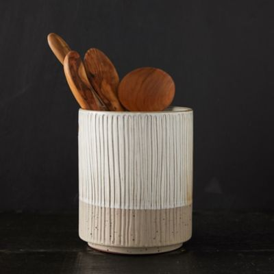 Carved Stripe Ceramic Utensil Holder
