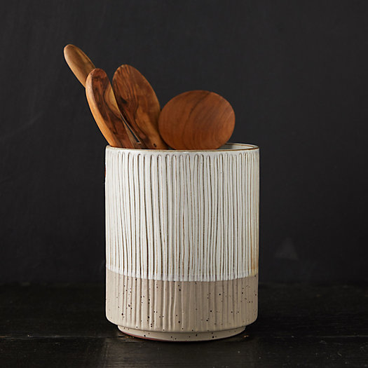 View larger image of Carved Stripe Ceramic Utensil Holder