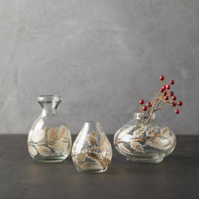 Etched Floral Bud Vases, Set of 3