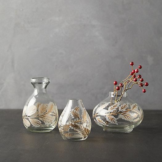 View larger image of Etched Floral Bud Vases, Set of 3