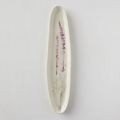 Botanical Embossed Stoneware Serving Platter, Oval