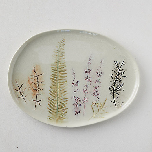 View larger image of Botanical Embossed Stoneware Serving Platter, Large Oval