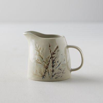 Botanical Embossed Stoneware Creamer Pitcher
