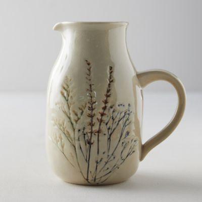 Botanical Embossed Stoneware Pitcher