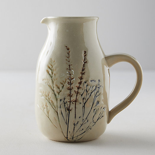 View larger image of Botanical Embossed Stoneware Pitcher