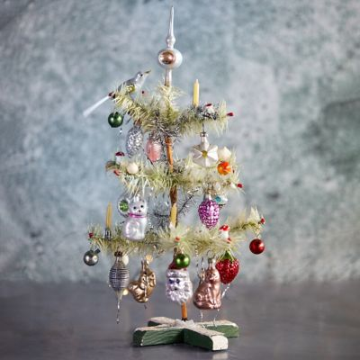 Decorated Feather Mini Christmas Tree
