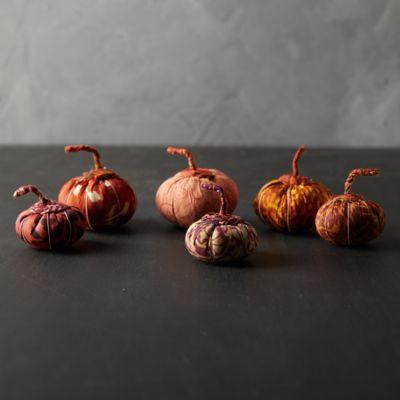 Recycled Sari Fabric Pumpkins, Set of 2