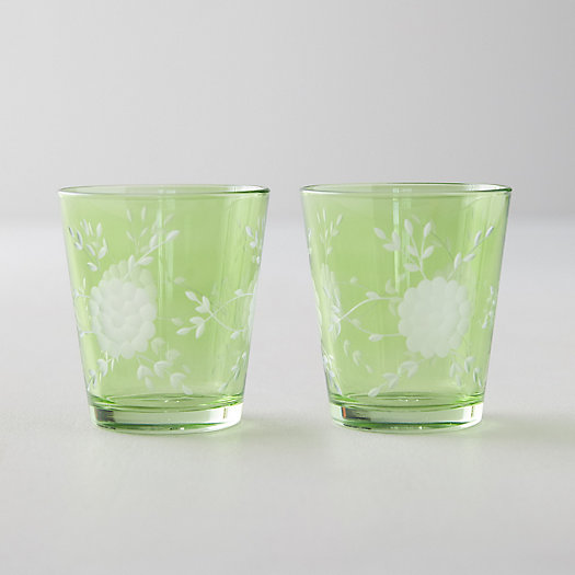 View larger image of Etched Floral Tumblers, Set of 2