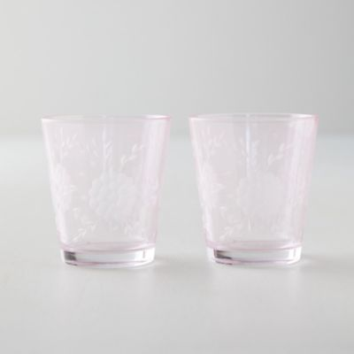 Etched Floral Tumblers, Set of 2