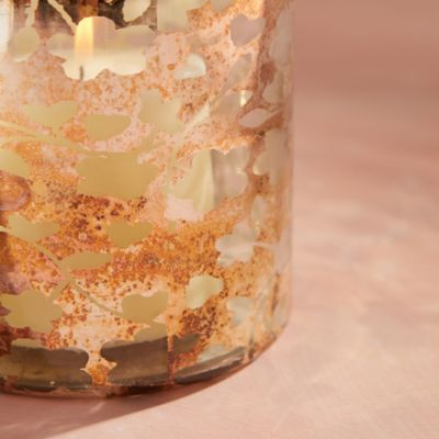 Metallic Floral Votives, Set of 2