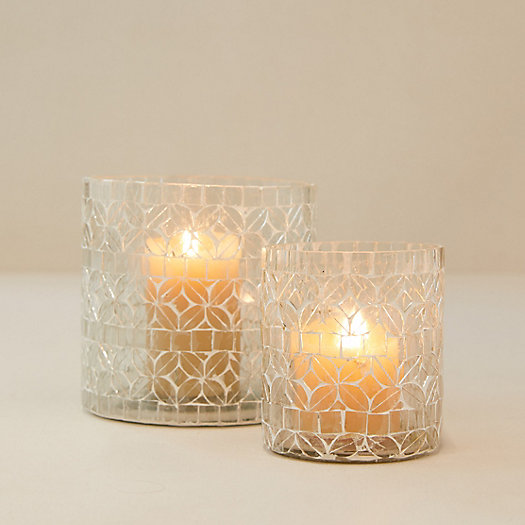 View larger image of Silver Mosaic Tall Votives, Set of 2
