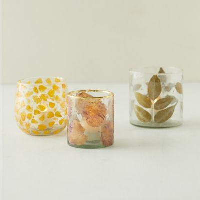 Pressed Flowers Votives, Set of 3