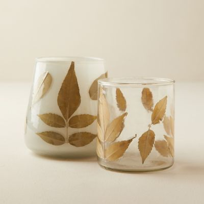 Pressed Leaf Votives, Set of 2