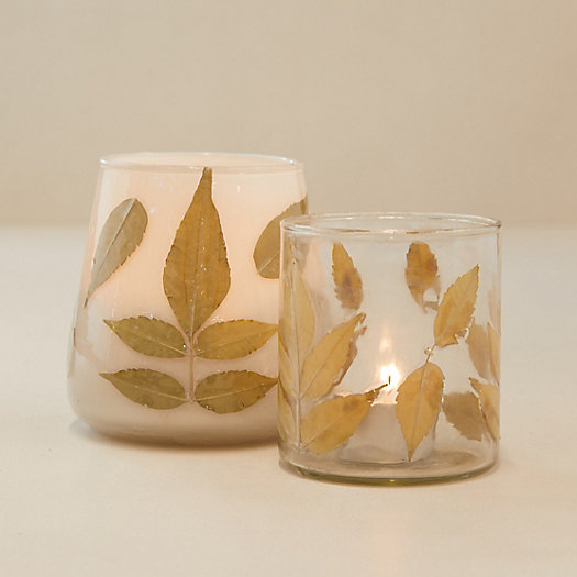 View larger image of Pressed Leaf Votives, Set of 2