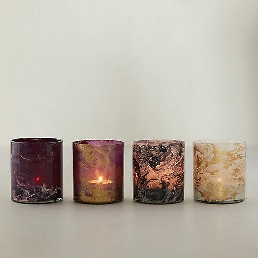 View larger image of Shiny Marble Votives, Set of 4