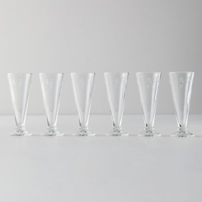 Bee Flute Glasses, Set of 6