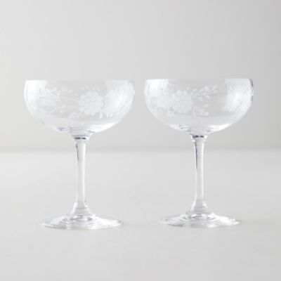 Etched Floral Coupes, Set of 2