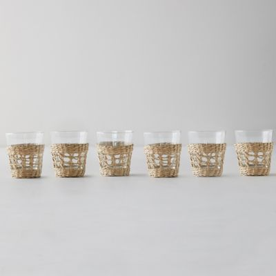Seagrass Wrap Tumblers, Set of 6