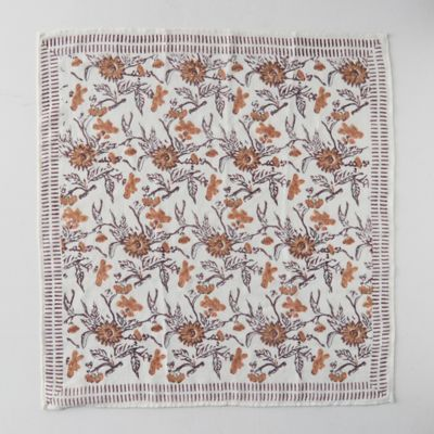 Block Print Wool Scarf, Harvest Florals