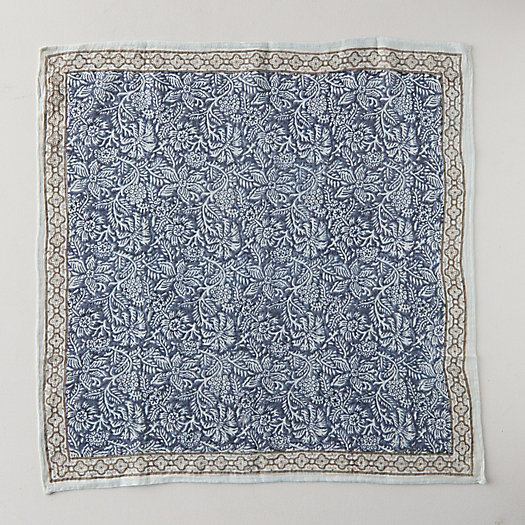 View larger image of Block Print Wool Scarf, Navy Botanicals