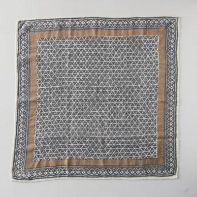 Block Print Wool Scarf, Espresso Squares