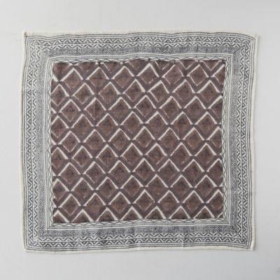 Block Print Wool Scarf, Russet Geo