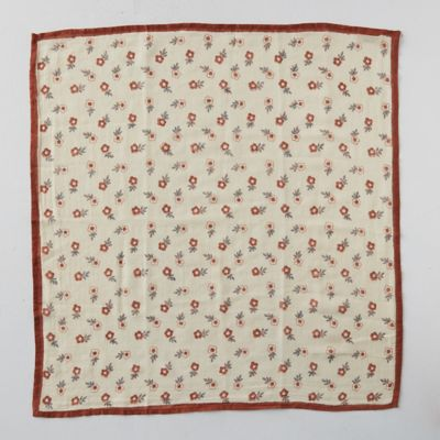 Block Print Cotton Bandana, Red Florals
