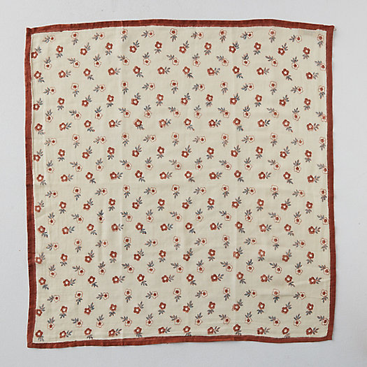 View larger image of Block Print Cotton Bandana, Red Florals
