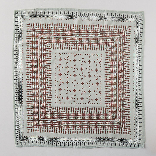 View larger image of Block Print Cotton Bandana, Geo Squares