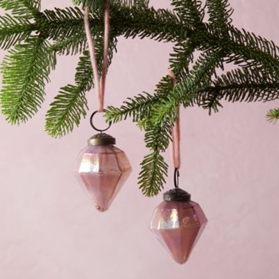 Iridescent Diamond Ornament, Set of 2
