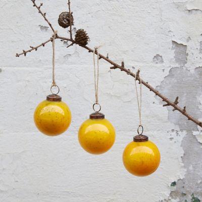 Yellow Glass Globe Ornaments, Set of 3