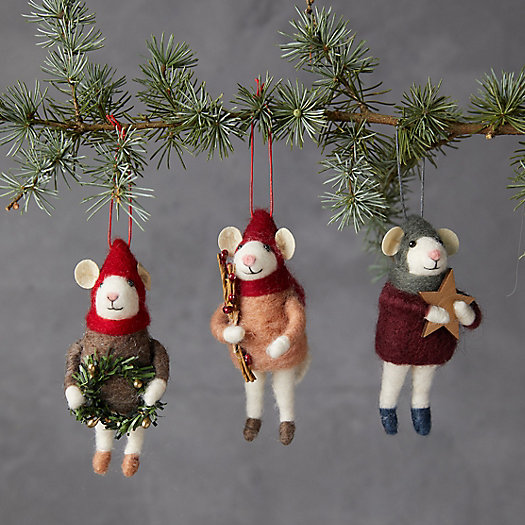 View larger image of Cozy Mice Felt Ornaments, Set of 3