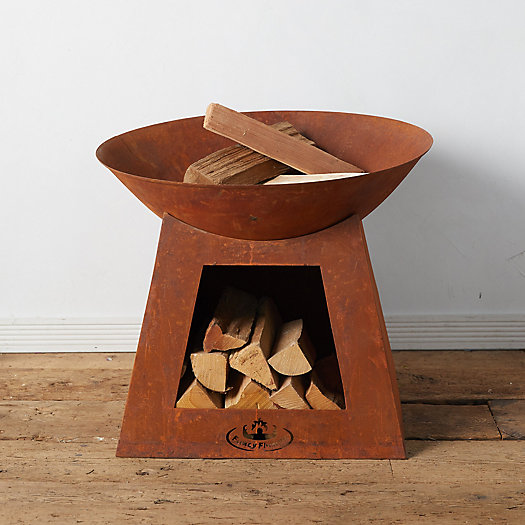 View larger image of Weathering Steel Fire Pit + Log Holder