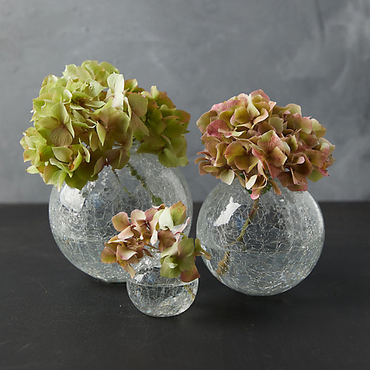 View larger image of Crackle Glass Bauble Bud Vases, Set of 3