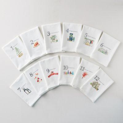 12 Days of Christmas Cotton Napkins; Set of 12