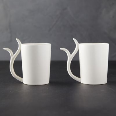 Antler Stoneware Mugs, Set of 2